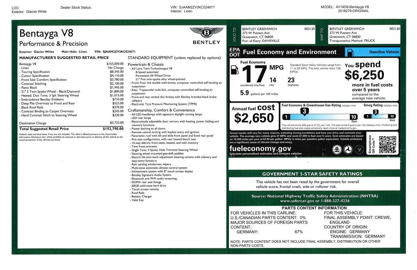 New 2019 Bentley Bentayga V8 For Sale In Westport, CT 2550_p32