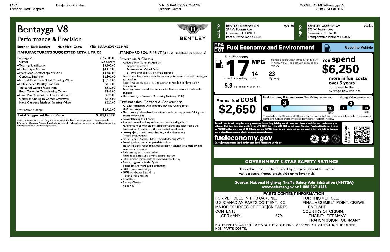 New 2019 Bentley Bentayga V8 For Sale In Westport, CT 2551_p32