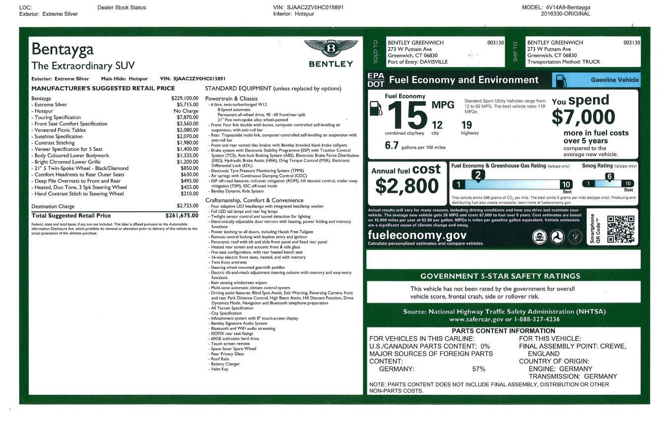 Used 2017 Bentley Bentayga W12 For Sale In Westport, CT 2641_p32