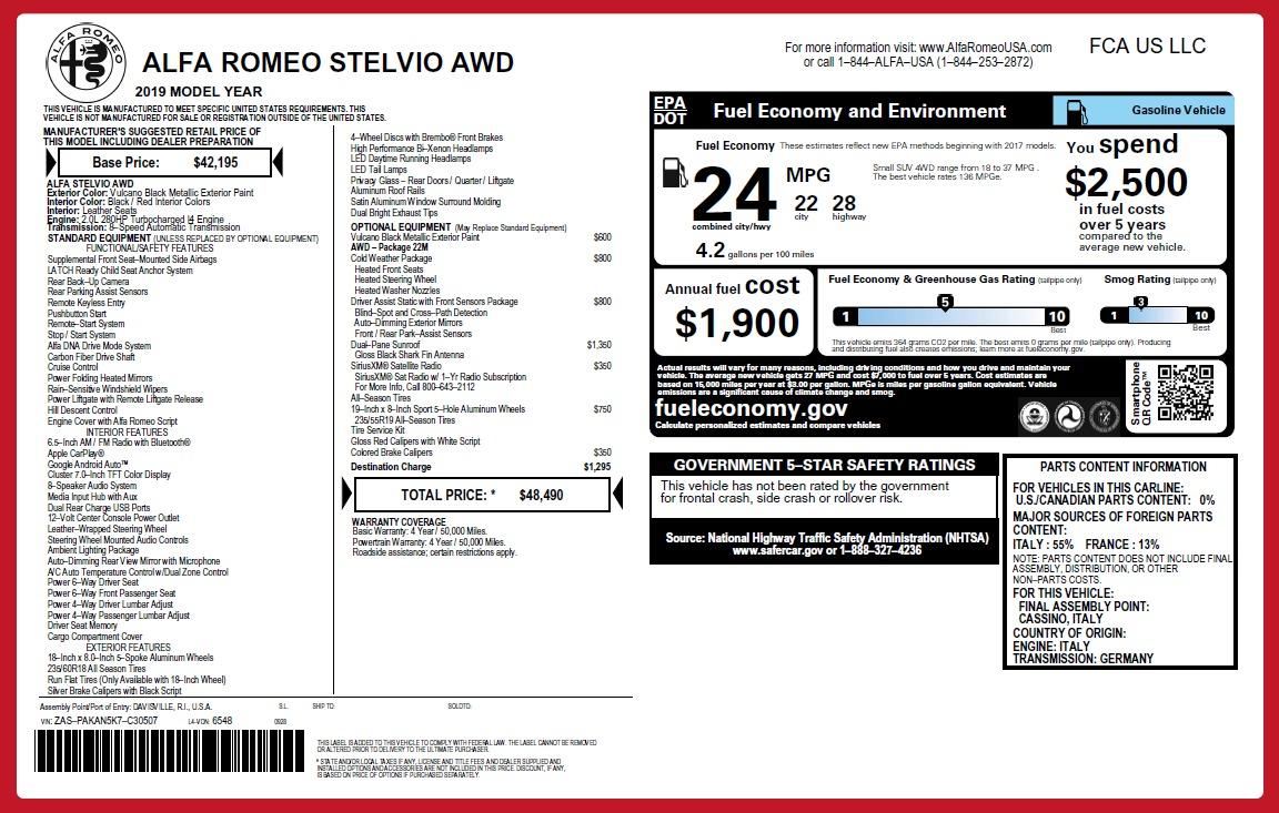 New 2019 Alfa Romeo Stelvio Q4 For Sale In Westport, CT 2650_p26