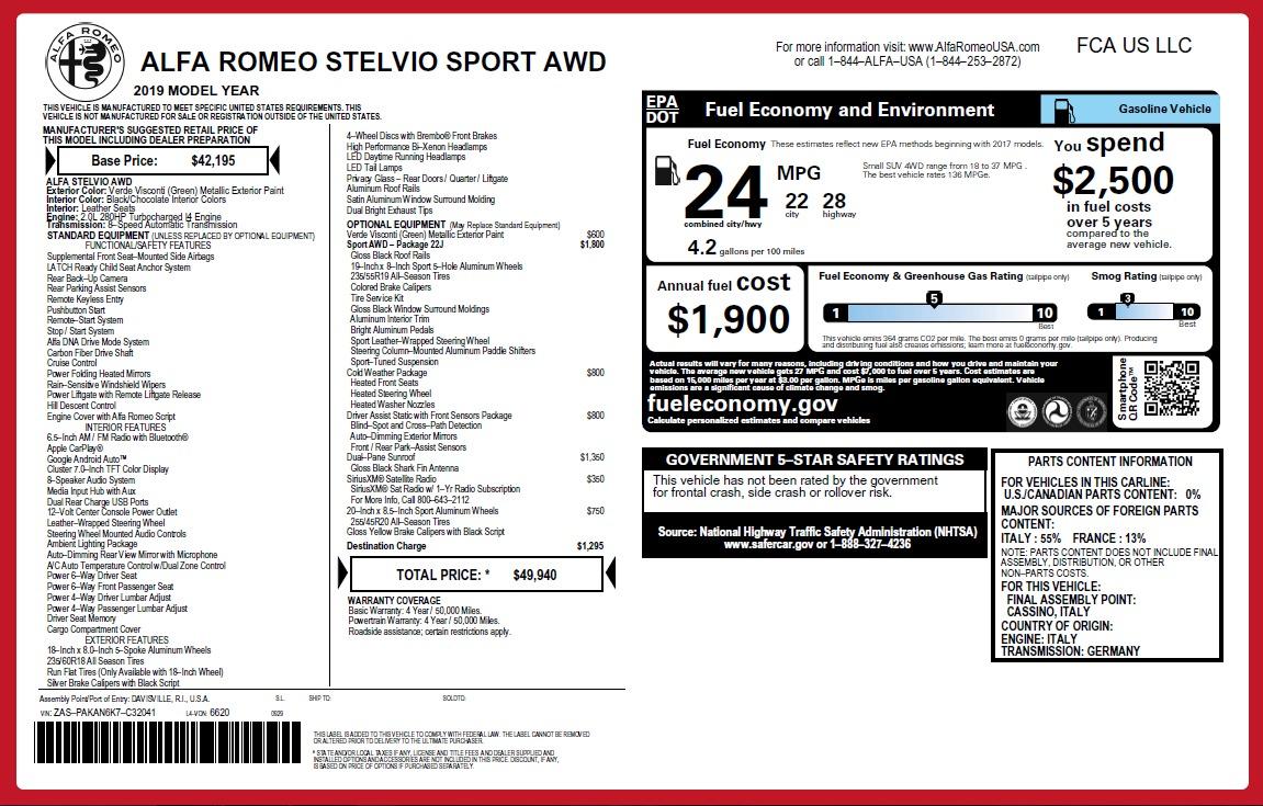 New 2019 Alfa Romeo Stelvio Sport Q4 For Sale In Westport, CT 2655_p27