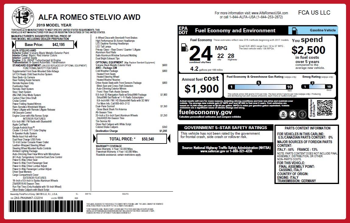 New 2019 Alfa Romeo Stelvio Q4 For Sale In Westport, CT 2659_p2