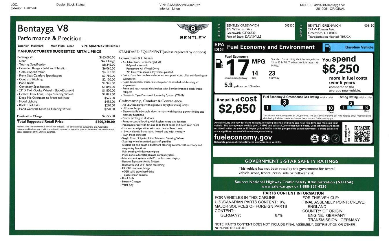New 2019 Bentley Bentayga V8 For Sale In Westport, CT 2674_p32