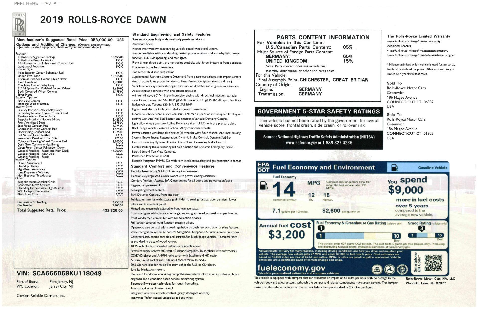 Used 2019 Rolls-Royce Dawn  For Sale In Westport, CT 2692_p57
