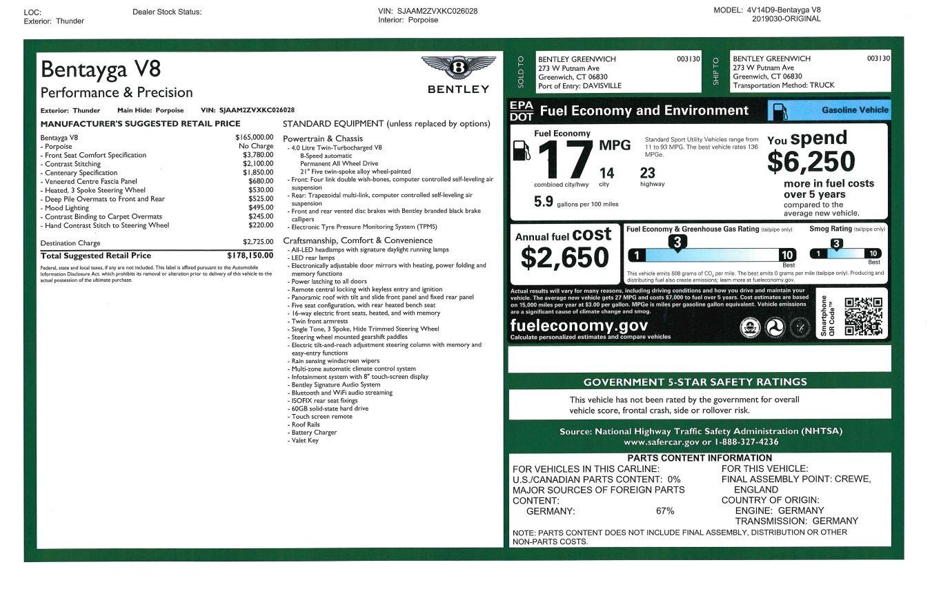 New 2019 Bentley Bentayga V8 For Sale In Westport, CT 2700_p31