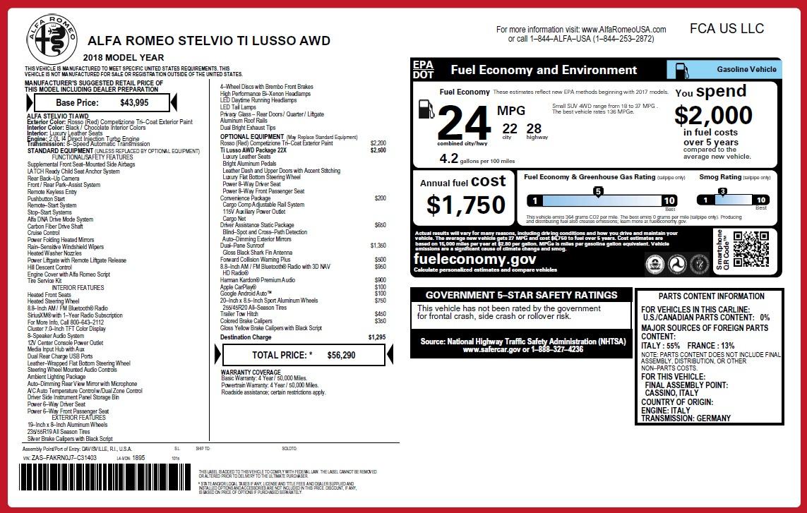 New 2018 Alfa Romeo Stelvio Ti Lusso Q4 For Sale In Westport, CT 2712_p2