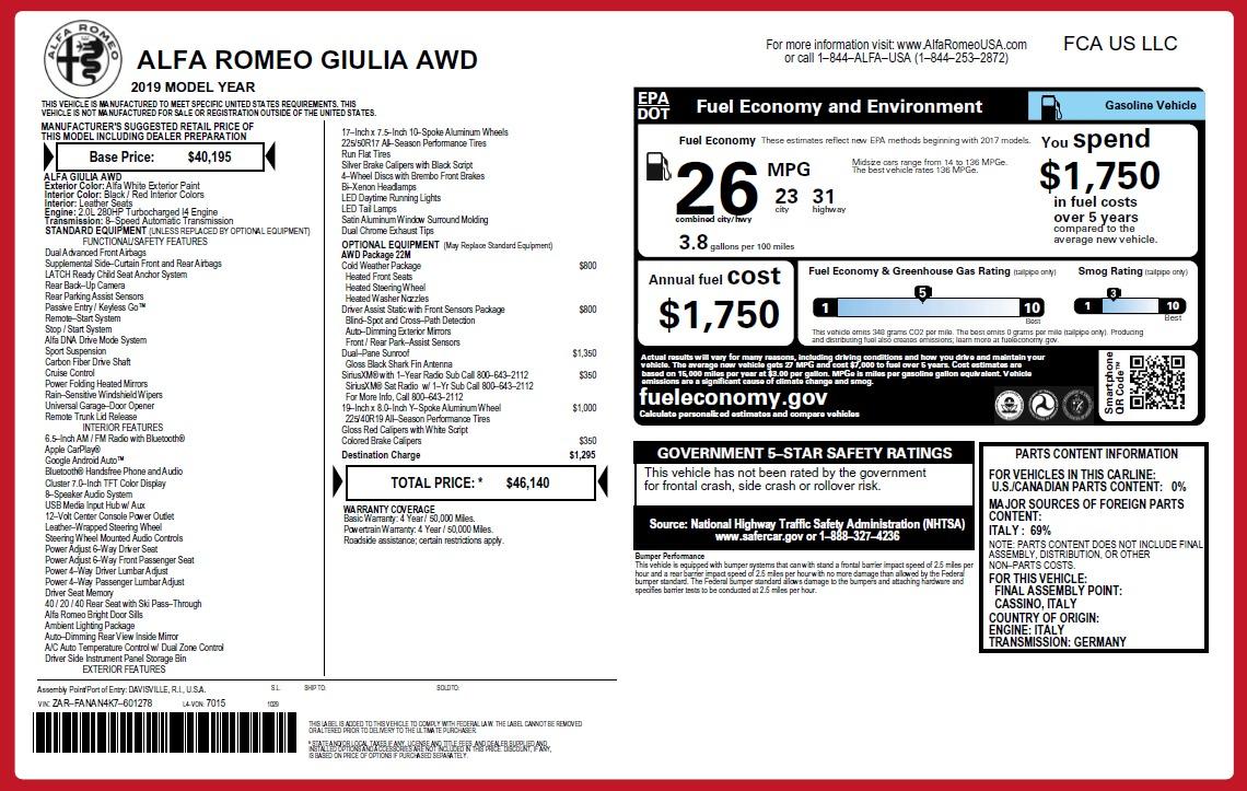 New 2019 Alfa Romeo Giulia Q4 For Sale In Westport, CT 2753_p2