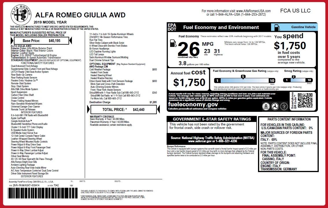 New 2019 Alfa Romeo Giulia Q4 For Sale In Westport, CT 2754_p24
