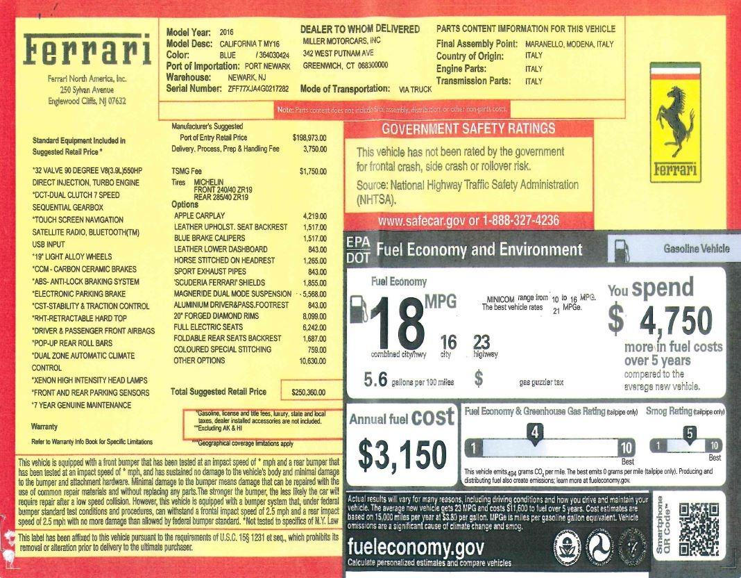 Used 2016 Ferrari California T  For Sale In Westport, CT 2773_p34
