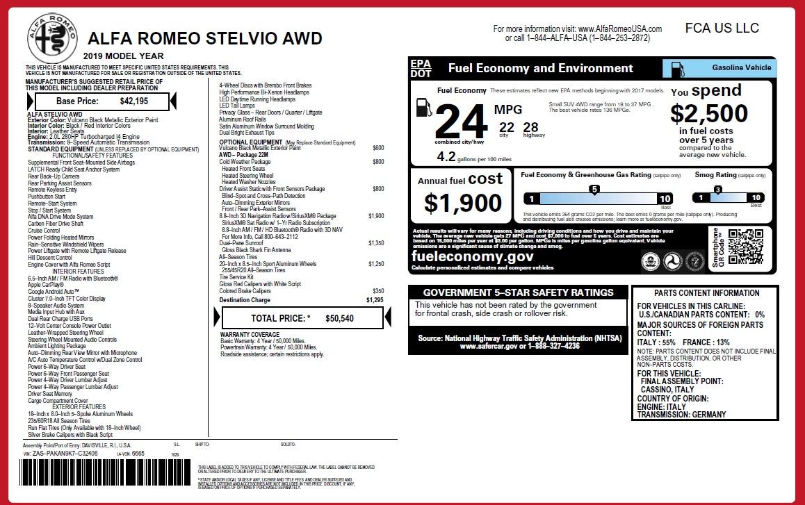 New 2019 Alfa Romeo Stelvio Q4 For Sale In Westport, CT 2813_p2