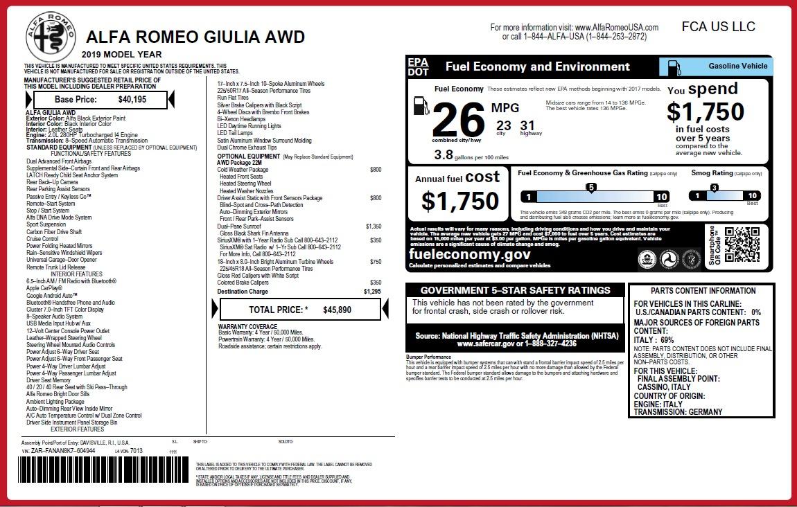 New 2019 Alfa Romeo Giulia Q4 For Sale In Westport, CT 2820_p23