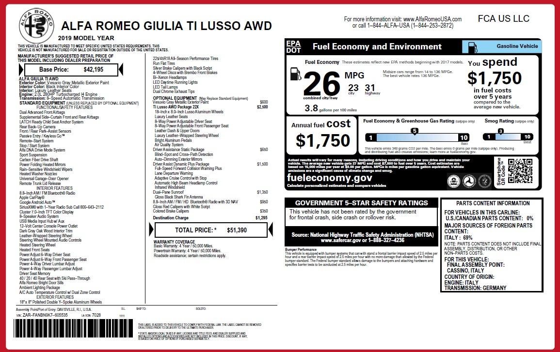 New 2019 Alfa Romeo Giulia Ti Lusso Q4 For Sale In Westport, CT 2822_p2