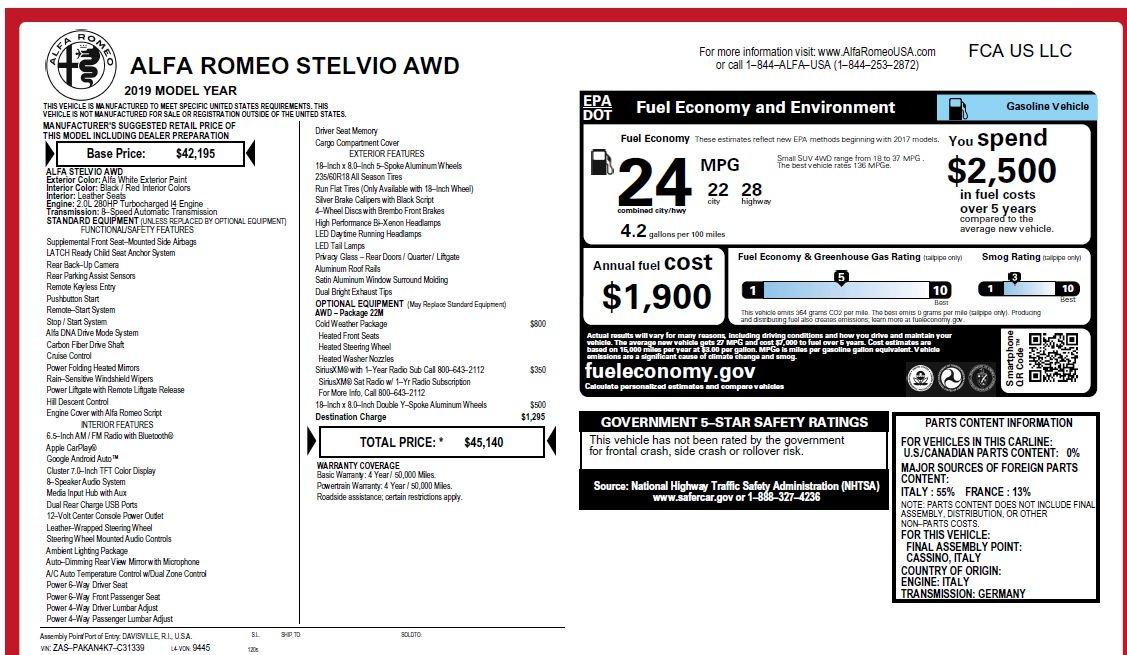 New 2019 Alfa Romeo Stelvio Q4 For Sale In Westport, CT 2849_p31