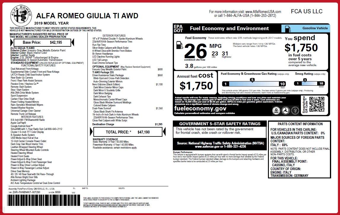 New 2019 Alfa Romeo Giulia Ti Q4 For Sale In Westport, CT 2855_p2