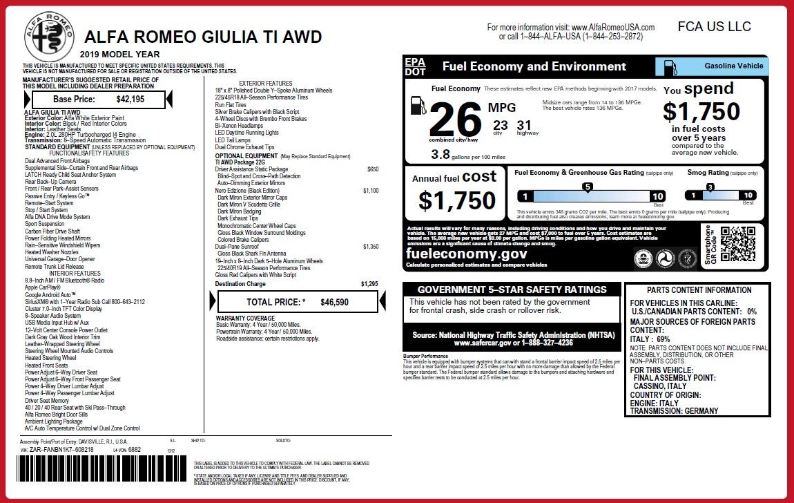 New 2019 Alfa Romeo Giulia Ti Q4 For Sale In Westport, CT 2856_p2