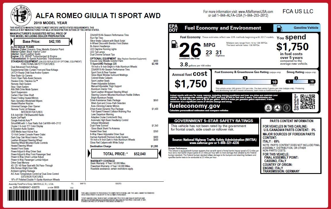 New 2019 Alfa Romeo Giulia Ti Sport Q4 For Sale In Westport, CT 2857_p31