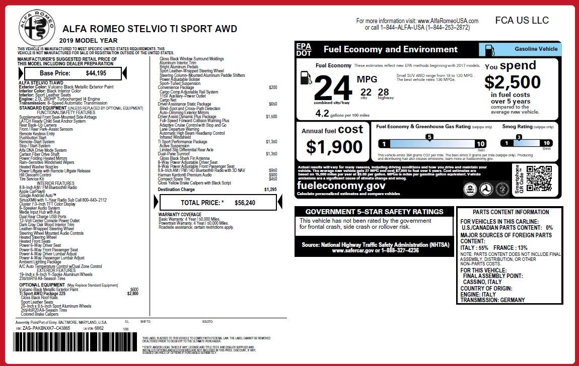 New 2019 Alfa Romeo Stelvio Ti Sport Q4 For Sale In Westport, CT 2874_p25