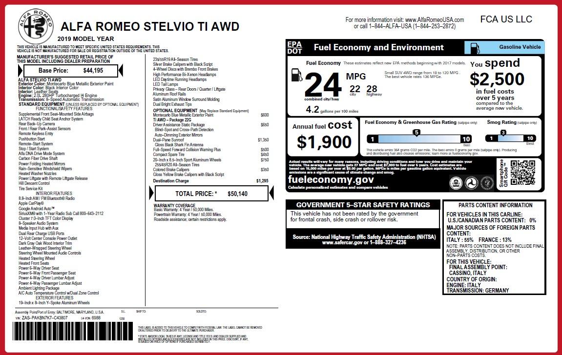 New 2019 Alfa Romeo Stelvio Ti Q4 For Sale In Westport, CT 2876_p26