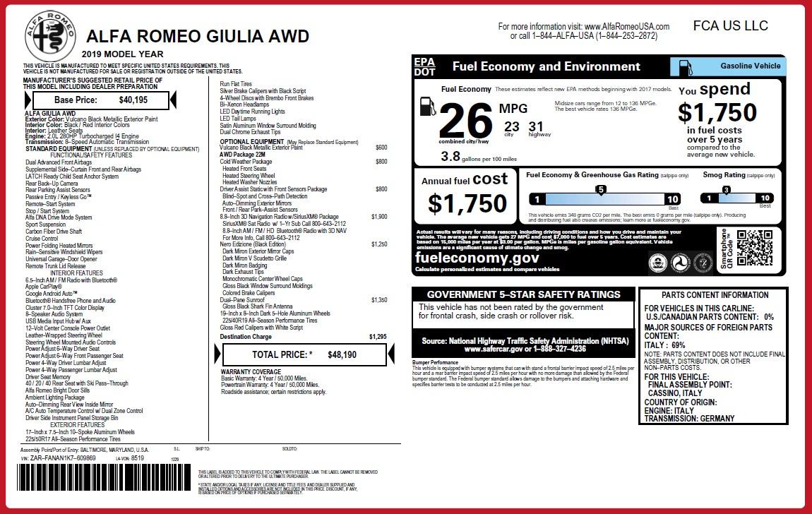 New 2019 Alfa Romeo Giulia Q4 For Sale In Westport, CT 2892_p26