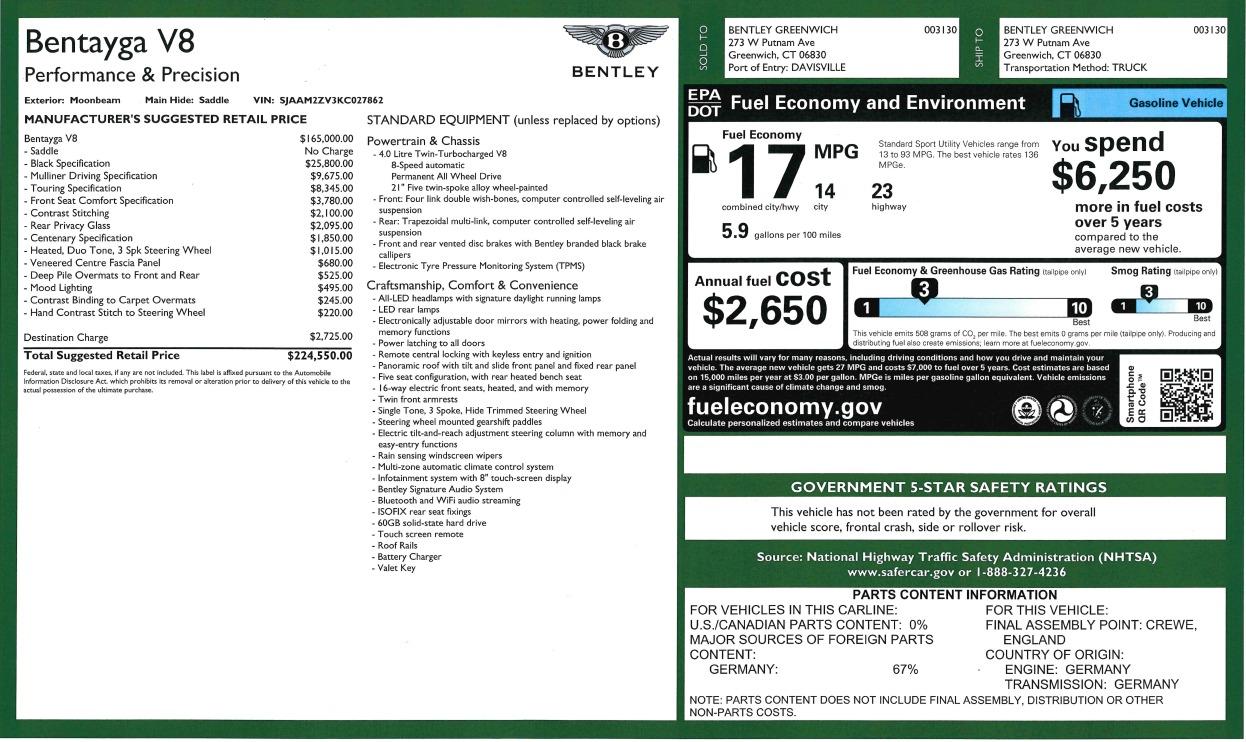 New 2019 Bentley Bentayga V8 For Sale In Westport, CT 2936_p32