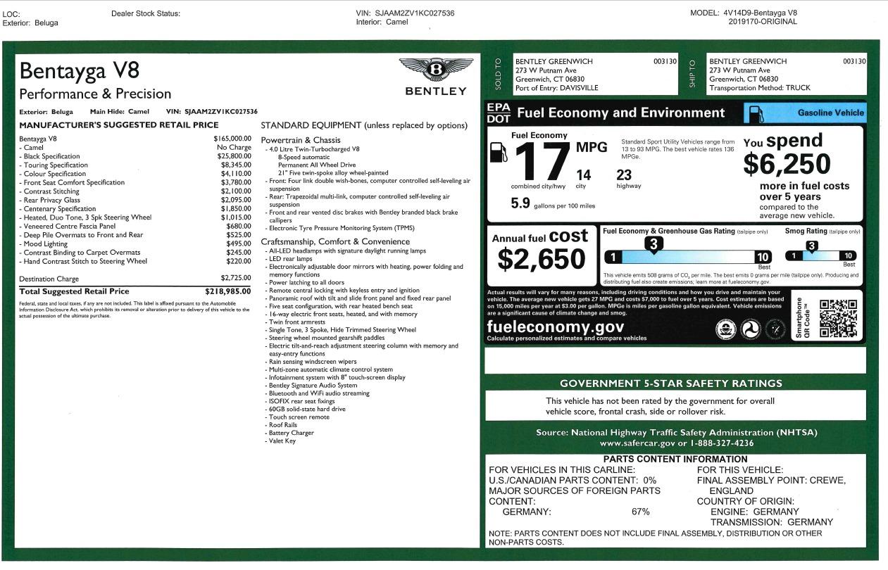 New 2019 Bentley Bentayga V8 For Sale In Westport, CT 2939_p27