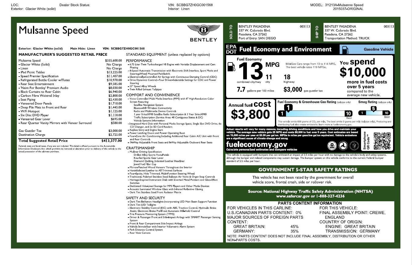Used 2016 Bentley Mulsanne Speed For Sale In Westport, CT 2960_p32