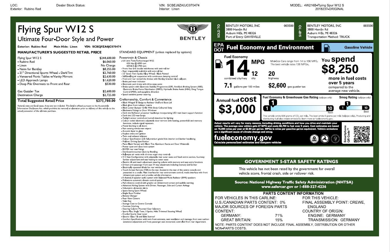 Used 2018 Bentley Flying Spur W12 S For Sale In Westport, CT 3014_p32