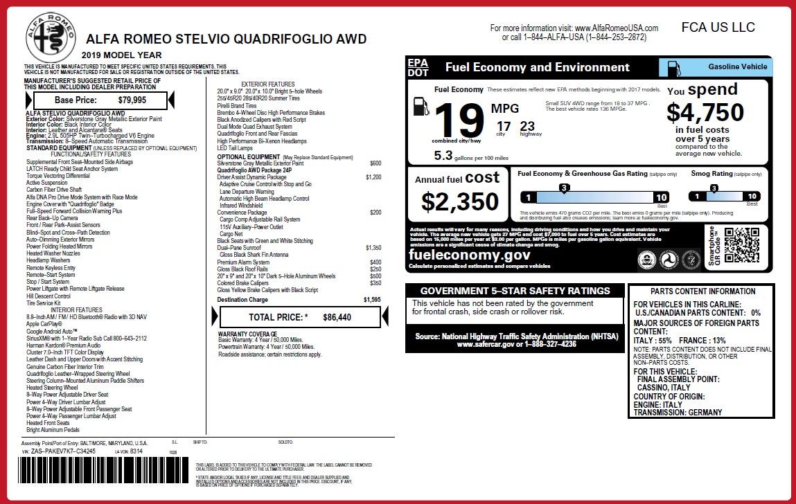 New 2019 Alfa Romeo Stelvio Quadrifoglio For Sale In Westport, CT 3037_p36