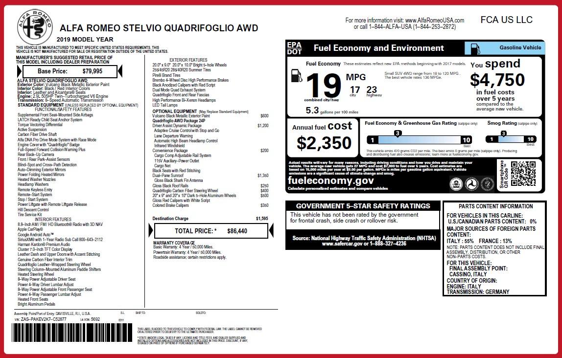 New 2019 Alfa Romeo Stelvio Quadrifoglio For Sale In Westport, CT 3049_p26
