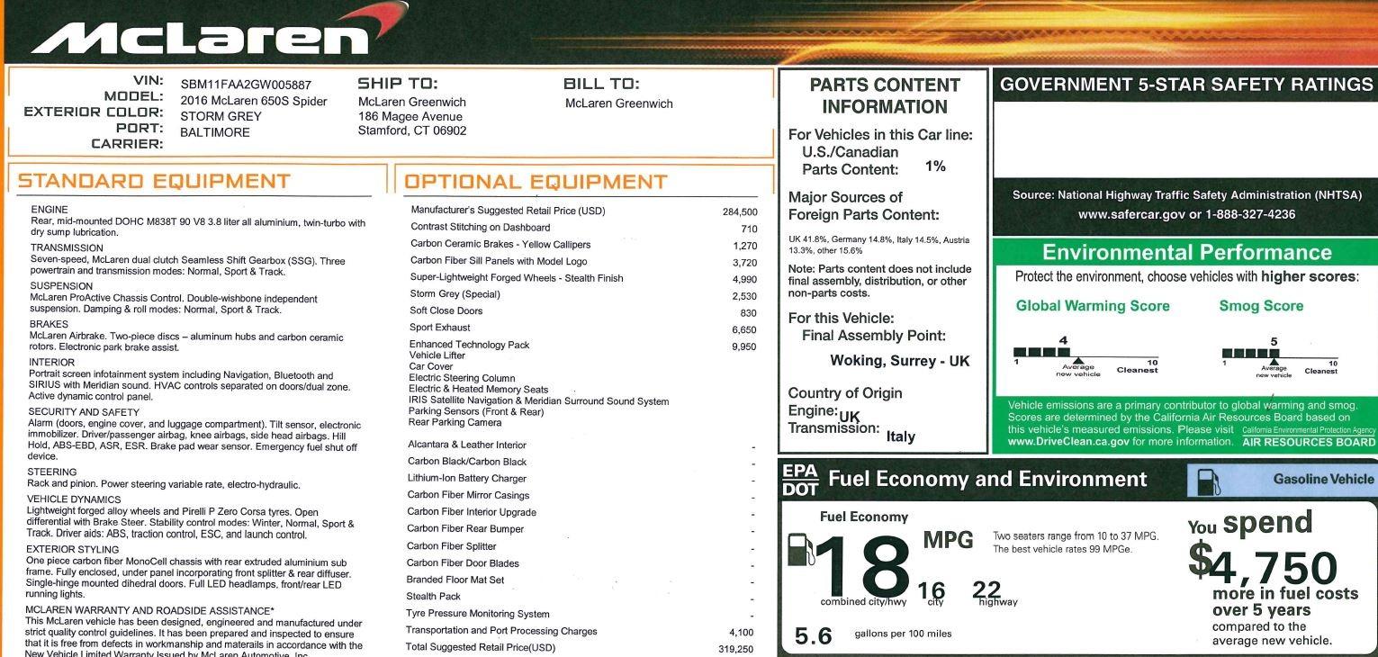 Used 2016 McLaren 650S Spider Convertible For Sale In Westport, CT 3062_p29