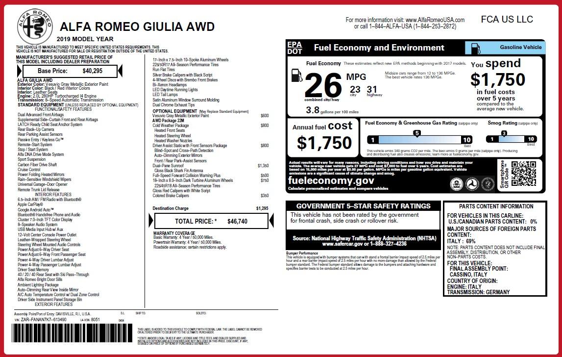 New 2019 Alfa Romeo Giulia Q4 For Sale In Westport, CT 3073_p2