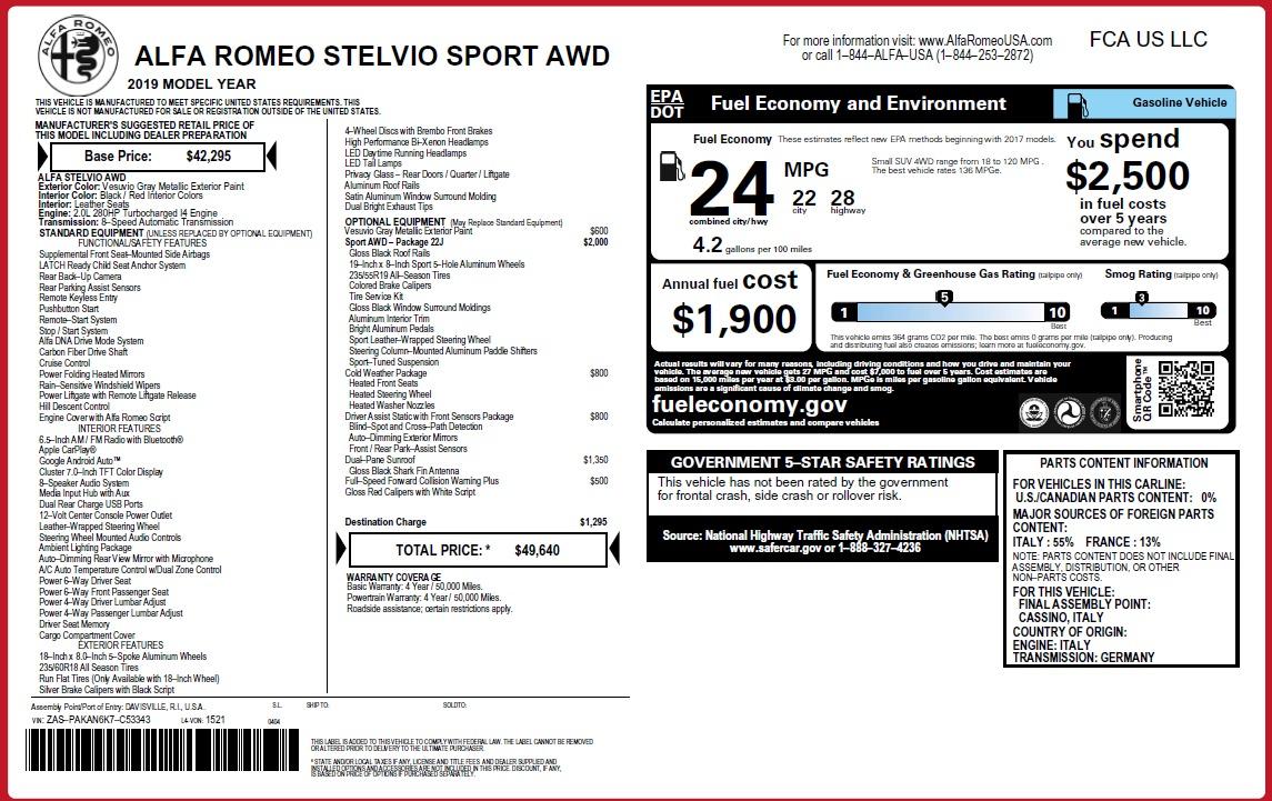 New 2019 Alfa Romeo Stelvio Sport Q4 For Sale In Westport, CT 3075_p31