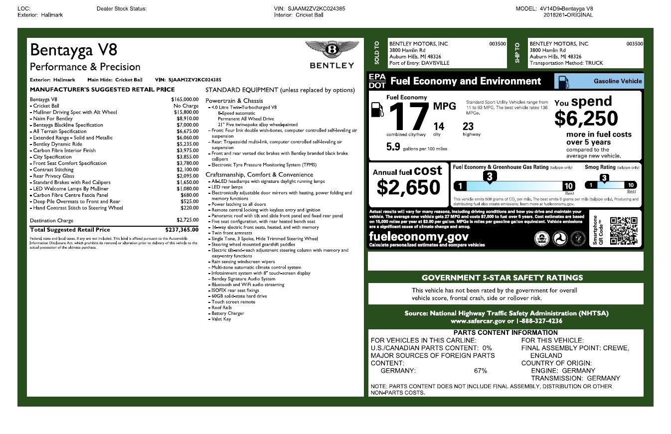 Used 2019 Bentley Bentayga V8 For Sale In Westport, CT 3084_p32