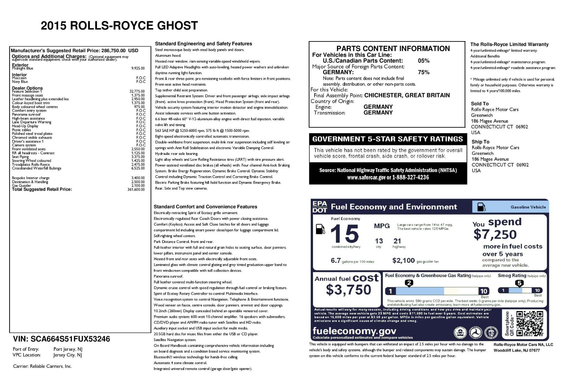 Used 2015 Rolls-Royce Ghost  For Sale In Westport, CT 3113_p46