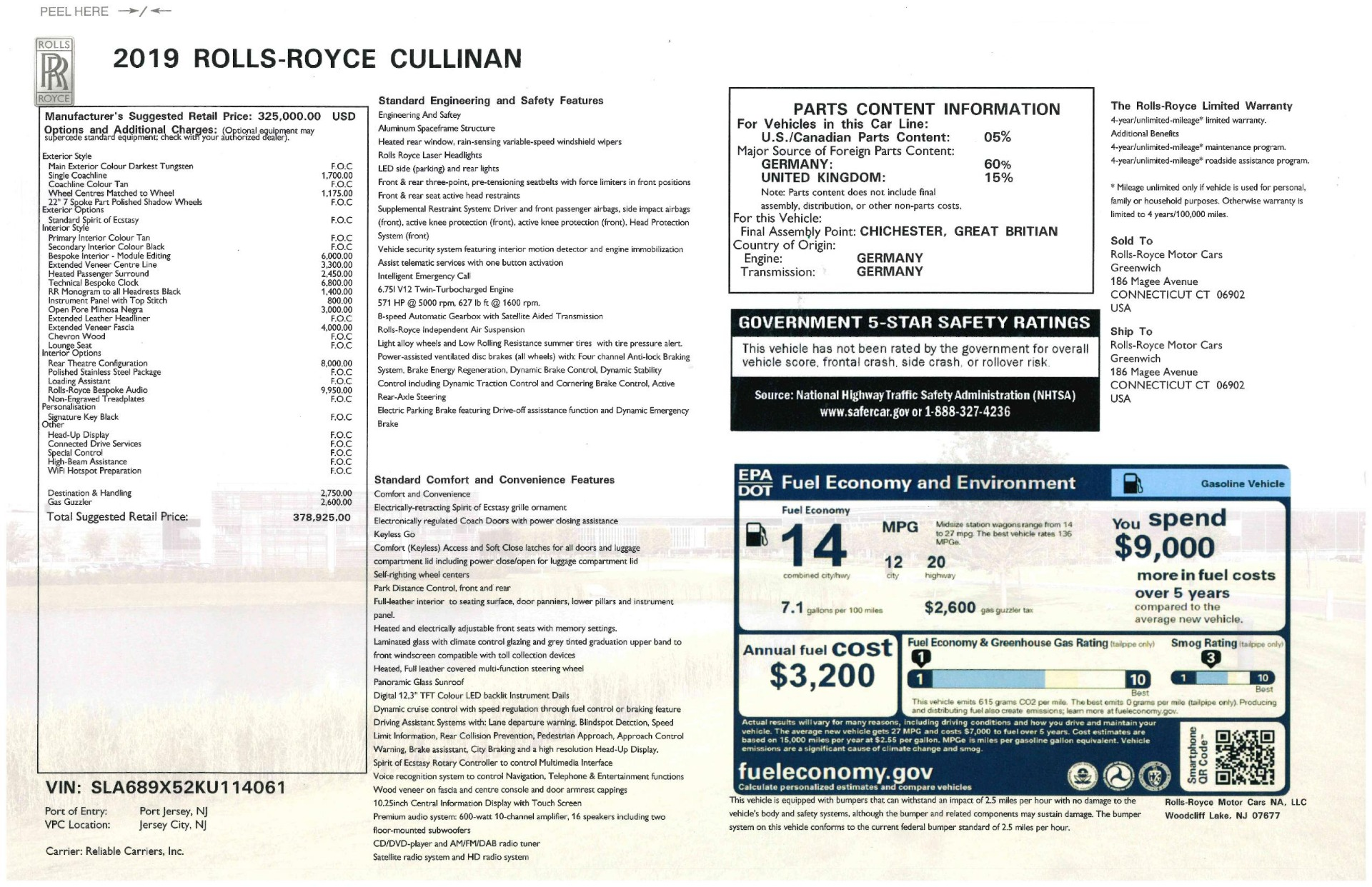 Used 2019 Rolls-Royce Cullinan  For Sale In Westport, CT 3162_p44