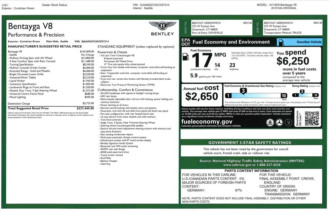 New 2019 Bentley Bentayga V8 For Sale In Westport, CT 3203_p32