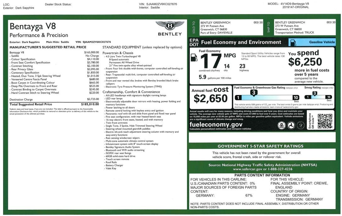 New 2019 Bentley Bentayga V8 For Sale In Westport, CT 3207_p31