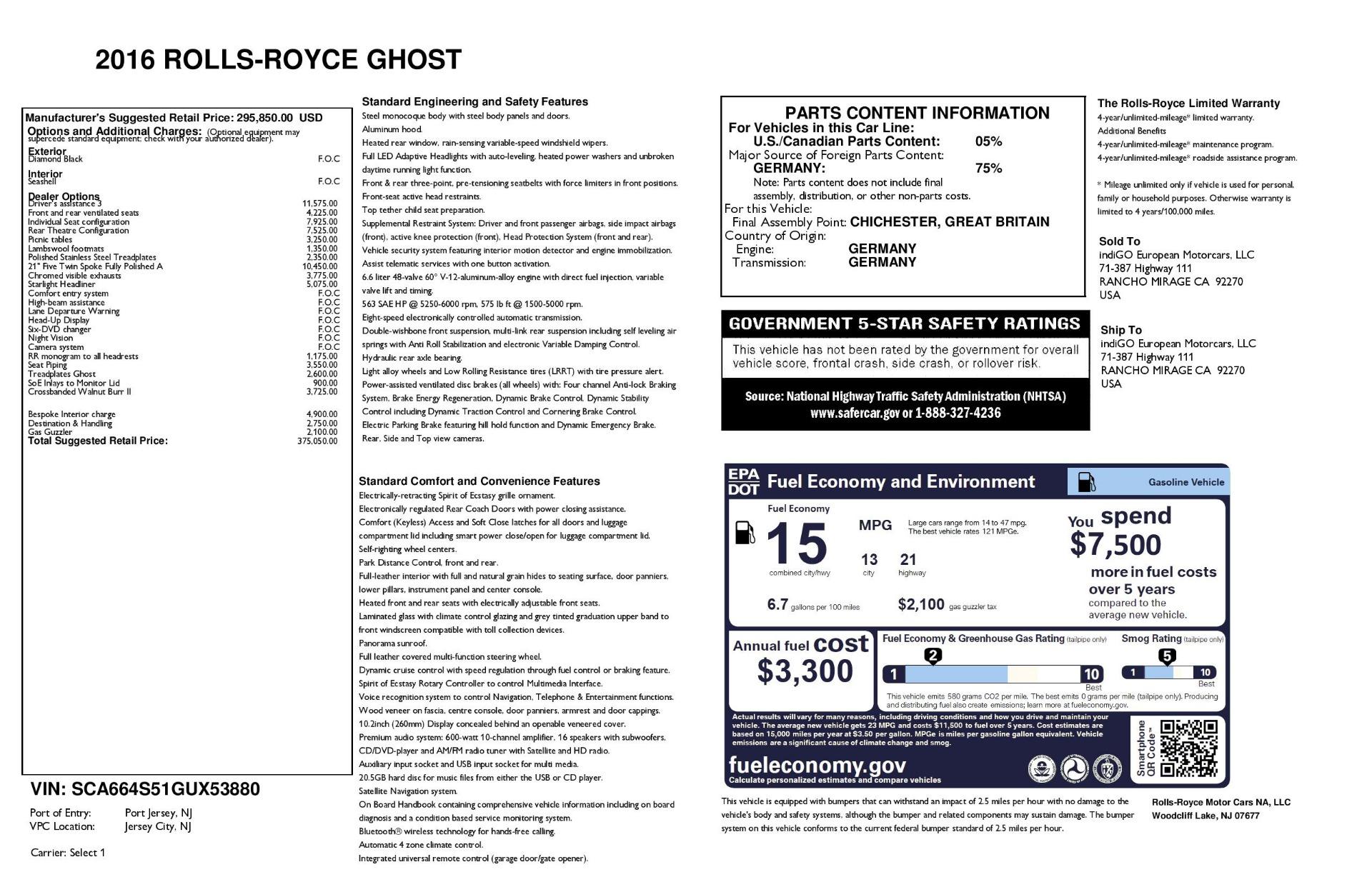 Used 2016 Rolls-Royce Ghost  For Sale In Westport, CT 3225_p31