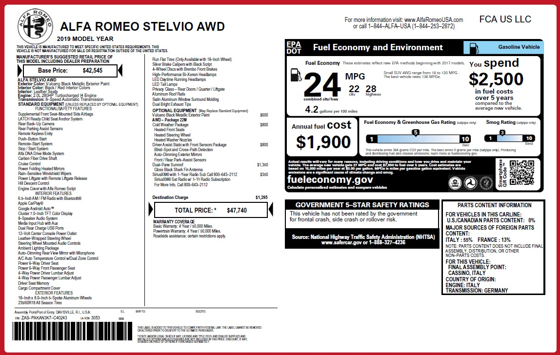 New 2019 Alfa Romeo Stelvio Q4 For Sale In Westport, CT 3244_p2