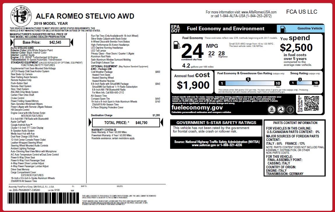 New 2019 Alfa Romeo Stelvio Q4 For Sale In Westport, CT 3246_p31