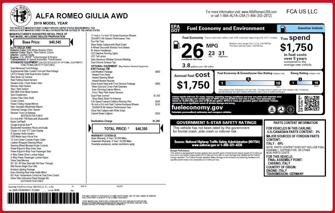 New 2019 Alfa Romeo Giulia Q4 For Sale In Westport, CT 3273_p31