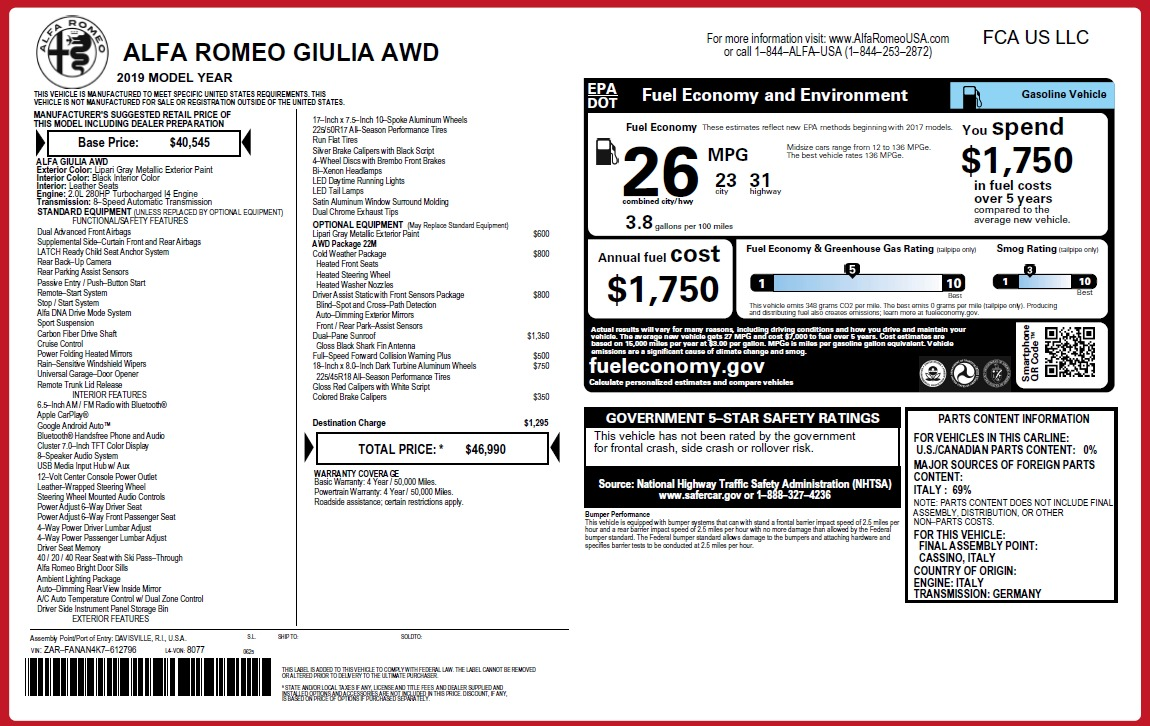 New 2019 Alfa Romeo Giulia Q4 For Sale In Westport, CT 3274_p31