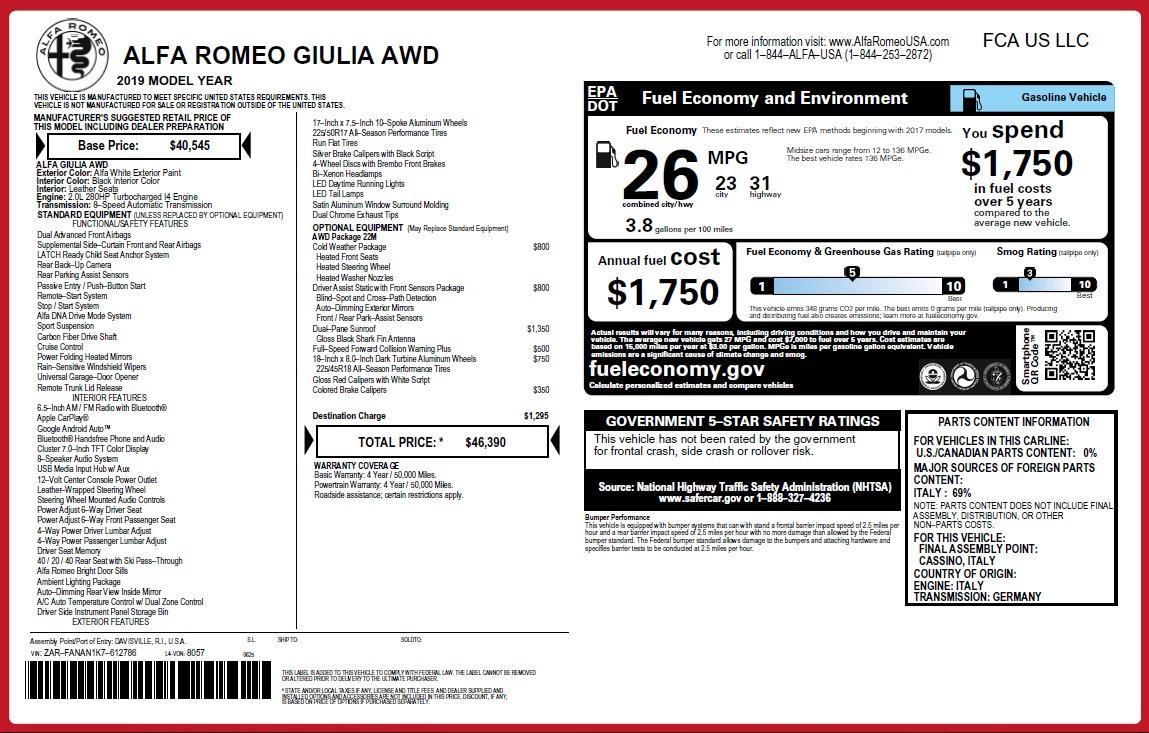New 2019 Alfa Romeo Giulia Q4 For Sale In Westport, CT 3278_p31
