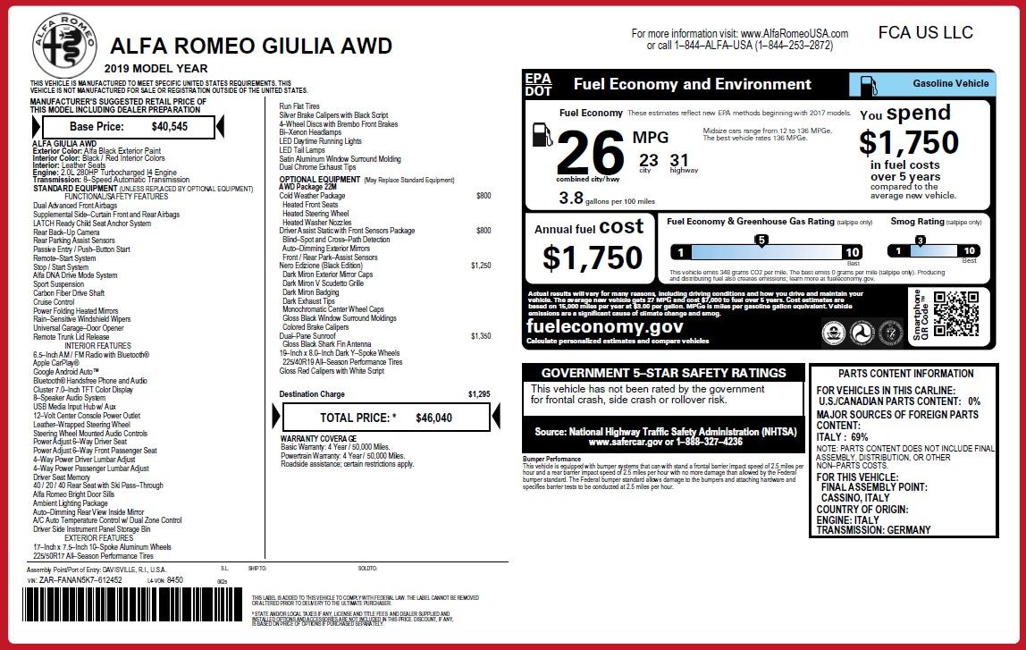 New 2019 Alfa Romeo Giulia Q4 For Sale In Westport, CT 3280_p2