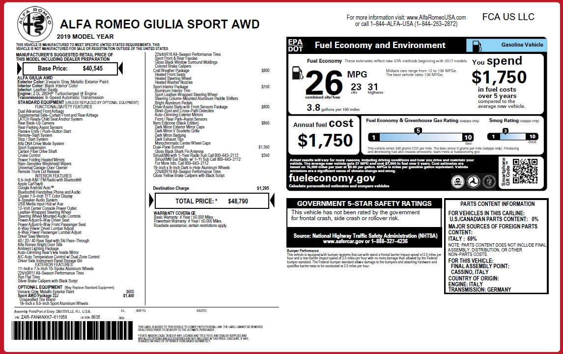 New 2019 Alfa Romeo Giulia Sport Q4 For Sale In Westport, CT 3281_p2