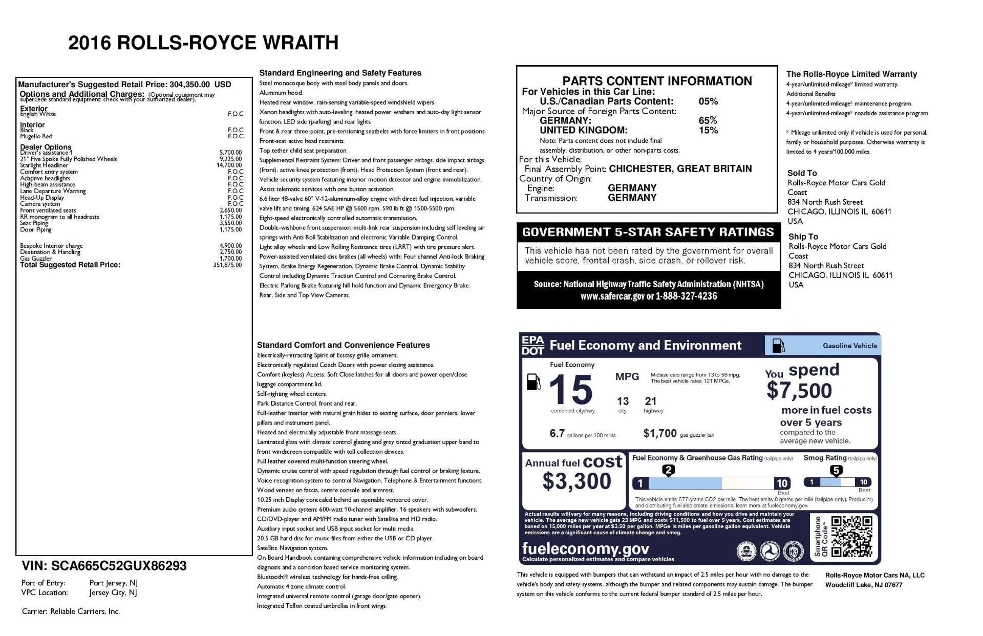 Used 2016 Rolls-Royce Wraith  For Sale In Westport, CT 3294_p31