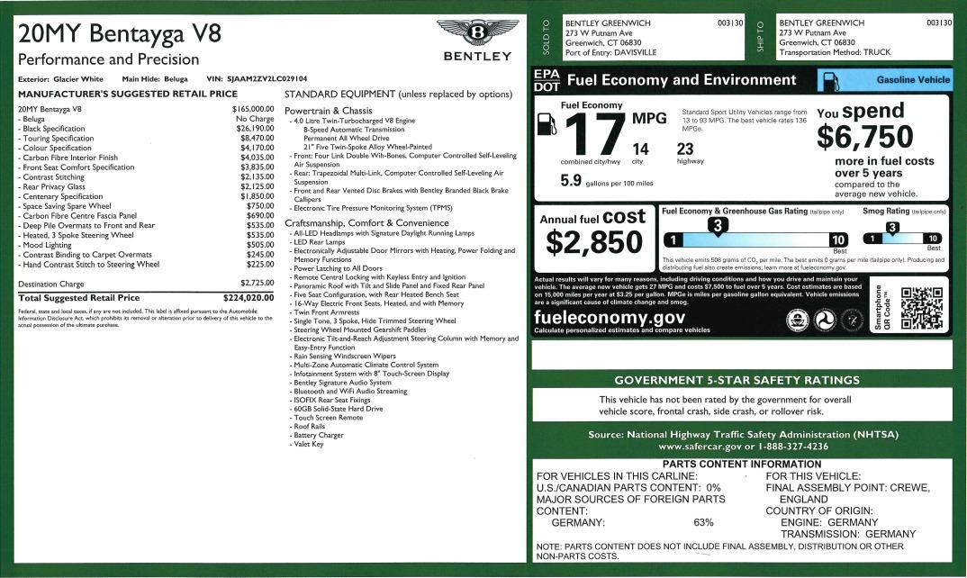 New 2020 Bentley Bentayga V8 For Sale In Westport, CT 3418_p34