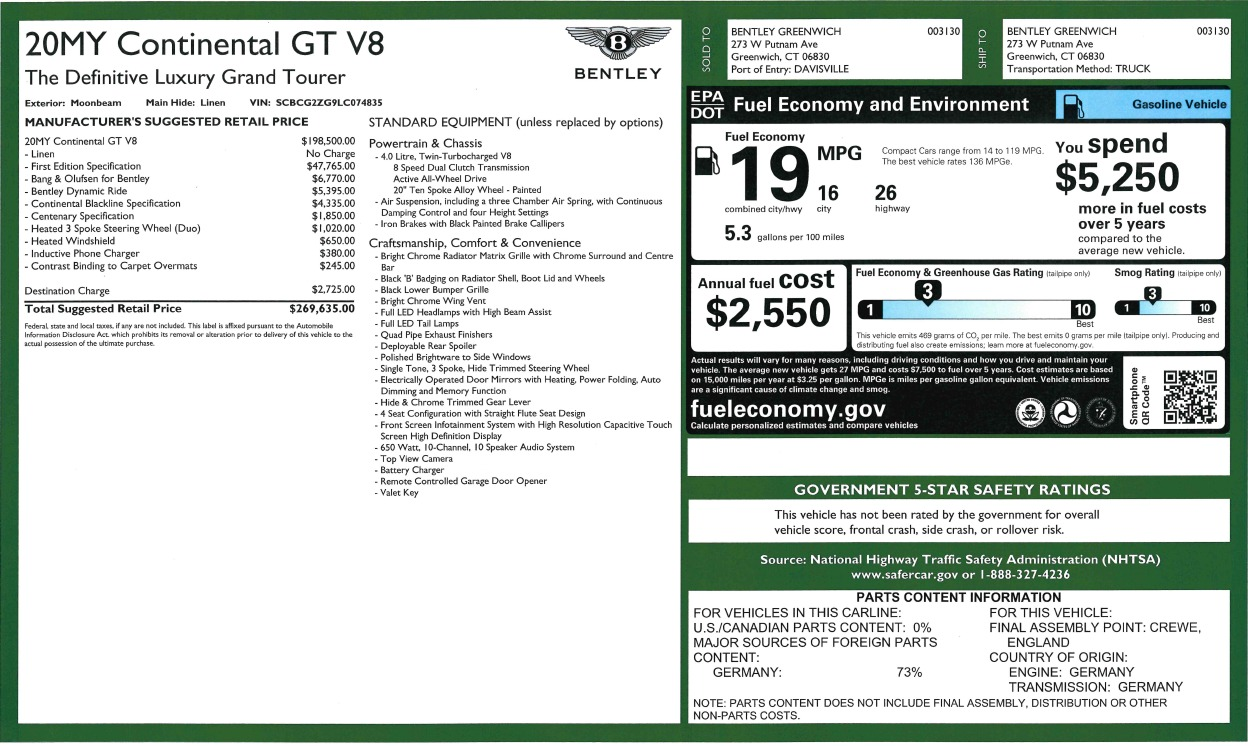 New 2020 Bentley Continental GT V8 First Edition For Sale In Westport, CT 3441_p34