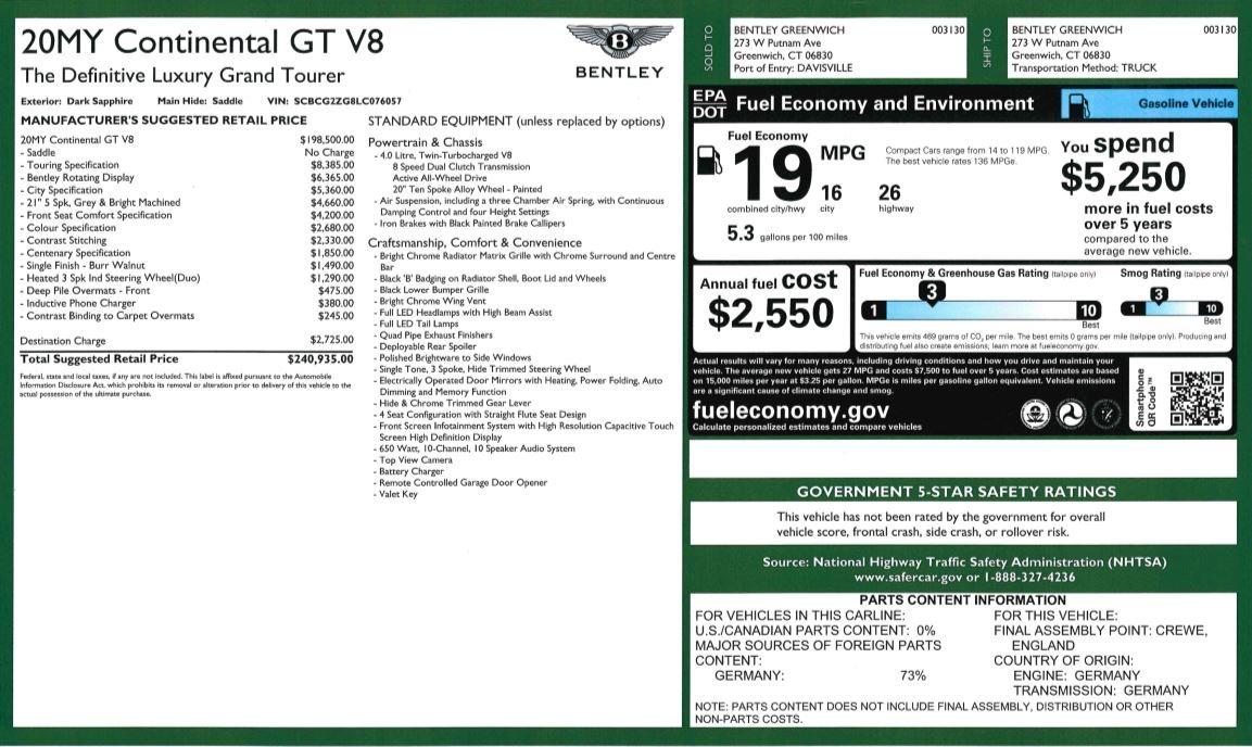 New 2020 Bentley Continental GT V8 For Sale In Westport, CT 3502_p31