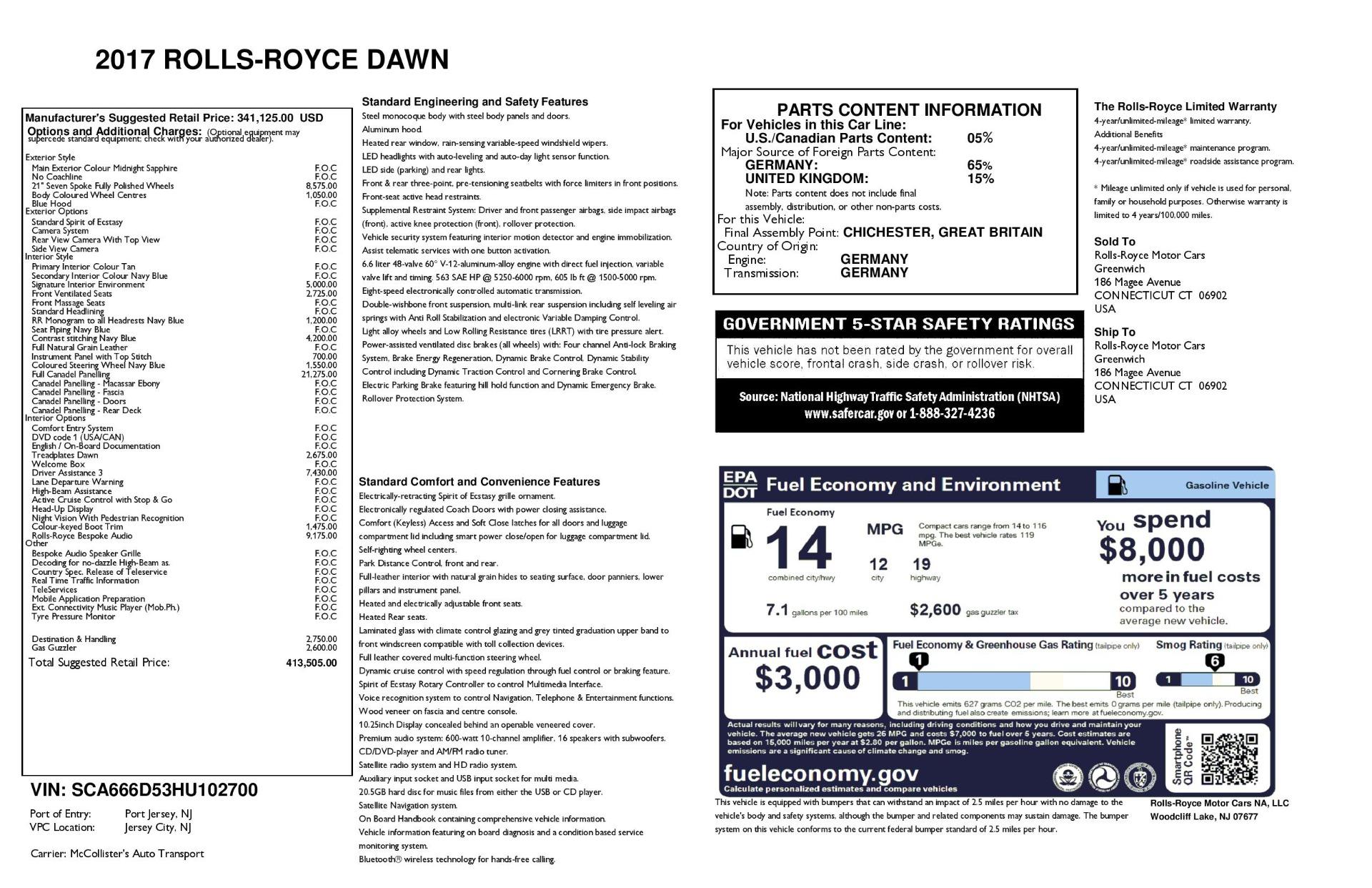 Used 2017 Rolls-Royce Dawn  For Sale In Westport, CT 3519_p35